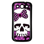 Pink Polka Dot Bow Skull Samsung Galaxy S3 Back Case (Black)