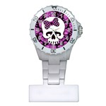 Pink Polka Dot Bow Skull Plastic Nurses Watch