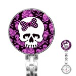 Pink Polka Dot Bow Skull Stainless Steel Nurses Watch