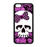 Pink Polka Dot Bow Skull iPhone 5C Seamless Case (Black)