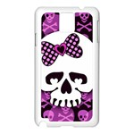 Pink Polka Dot Bow Skull Samsung Galaxy Note 3 N9005 Case (White)