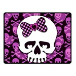 Pink Polka Dot Bow Skull Double Sided Fleece Blanket (Small)