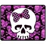 Pink Polka Dot Bow Skull Double Sided Fleece Blanket (Medium)