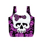 Pink Polka Dot Bow Skull Full Print Recycle Bag (S)