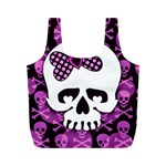 Pink Polka Dot Bow Skull Full Print Recycle Bag (M)