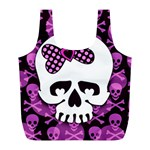 Pink Polka Dot Bow Skull Full Print Recycle Bag (L)