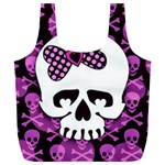 Pink Polka Dot Bow Skull Full Print Recycle Bag (XL)