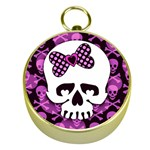 Pink Polka Dot Bow Skull Gold Compass