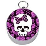 Pink Polka Dot Bow Skull Silver Compass