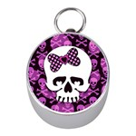 Pink Polka Dot Bow Skull Silver Compass (Mini)