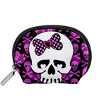 Pink Polka Dot Bow Skull Accessory Pouch (Small)