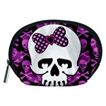 Pink Polka Dot Bow Skull Accessory Pouch (Medium)