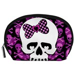 Pink Polka Dot Bow Skull Accessory Pouch (Large)