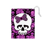 Pink Polka Dot Bow Skull Drawstring Pouch (Medium)