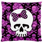 Pink Polka Dot Bow Skull Large Flano Cushion Case (One Side)