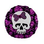 Pink Polka Dot Bow Skull Standard 15  Premium Flano Round Cushion