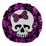 Pink Polka Dot Bow Skull Large 18  Premium Flano Round Cushion
