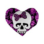 Pink Polka Dot Bow Skull Standard 16  Premium Flano Heart Shape Cushion