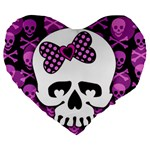 Pink Polka Dot Bow Skull Large 19  Premium Flano Heart Shape Cushion