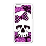 Pink Polka Dot Bow Skull iPhone 6/6S White Enamel Case