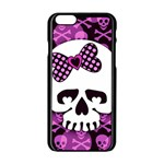 Pink Polka Dot Bow Skull iPhone 6/6S Black Enamel Case