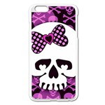 Pink Polka Dot Bow Skull iPhone 6 Plus/6S Plus Enamel White Case