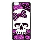 Pink Polka Dot Bow Skull iPhone 6 Plus/6S Plus Black Enamel Case
