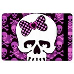 Pink Polka Dot Bow Skull Apple iPad Air 2 Flip Case
