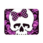 Pink Polka Dot Bow Skull Double Sided Flano Blanket (Mini)