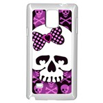 Pink Polka Dot Bow Skull Samsung Galaxy Note 4 Case (White)