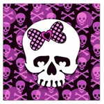 Pink Polka Dot Bow Skull Large Satin Scarf (Square)