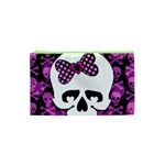 Pink Polka Dot Bow Skull Cosmetic Bag (XS)