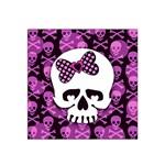 Pink Polka Dot Bow Skull Satin Bandana Scarf