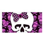 Pink Polka Dot Bow Skull Satin Shawl