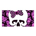 Pink Polka Dot Bow Skull Satin Wrap