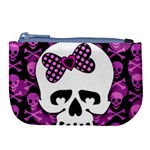 Pink Polka Dot Bow Skull Large Coin Purse