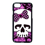 Pink Polka Dot Bow Skull iPhone 7 Seamless Case (Black)