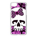 Pink Polka Dot Bow Skull iPhone 7 Seamless Case (White)