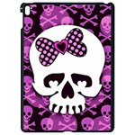 Pink Polka Dot Bow Skull Apple iPad Pro 9.7   Black Seamless Case