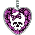 Pink Polka Dot Bow Skull Heart Necklace