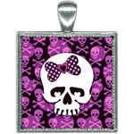 Pink Polka Dot Bow Skull Square Necklace