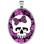 Pink Polka Dot Bow Skull Oval Necklace