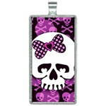 Pink Polka Dot Bow Skull Rectangle Necklace