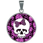 Pink Polka Dot Bow Skull 30mm Round Necklace