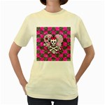 Princess Skull Heart Women s Yellow T-Shirt