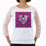 Princess Skull Heart Girly Raglan