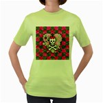 Princess Skull Heart Women s Green T-Shirt