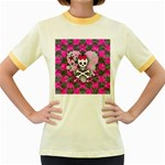 Princess Skull Heart Women s Fitted Ringer T-Shirt