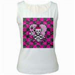 Princess Skull Heart Women s White Tank Top