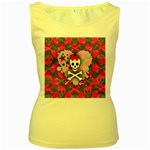 Princess Skull Heart Women s Yellow Tank Top